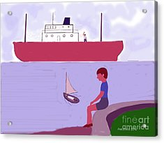 The Little Sailboat Acrylic Print by Fred Jinkins