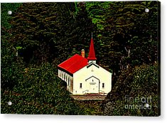 Red Steeple Red Roof White Church Near Sausalito California Acrylic Print by Michael Hoard
