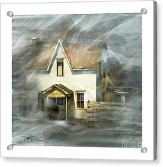 The Little White House On Hwy 6 Acrylic Print by Bob Salo