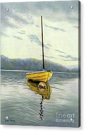 The Yellow Sailboat Acrylic Print by Sarah Batalka