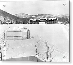 The Location For The Brooklyn Dodgers Spring Training, Bear Mountain Inn, Is Covered In Snow. 1943 Acrylic Print
