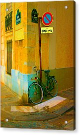 The Locked Bike Acrylic Print by Dennis Curry
