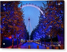 The London Eye At Night Acrylic Print by Donald Davis