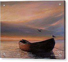 Acrylic Print featuring the painting A Lone Boat by Rosario Piazza
