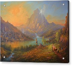 The Lonely Mountain Smaug Acrylic Print by Joe  Gilronan