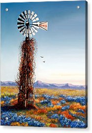 The Lonely Windmill Acrylic Print by Sena Wilson