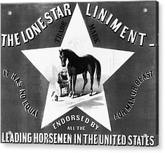 The Lonestar Liniment Acrylic Print by Bill Cannon