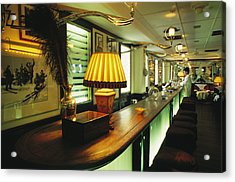 The Long March Bar At The China Club Acrylic Print by Justin Guariglia