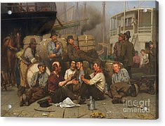 The Longshoremen's Noon Acrylic Print by John George Brown