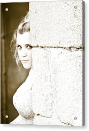 The Look Behind The Pillar Acrylic Print by Loriental Photography