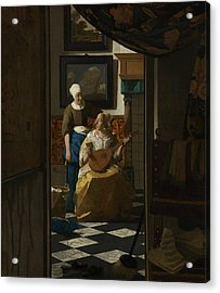 The Love Letter Acrylic Print by Jan Vermeer