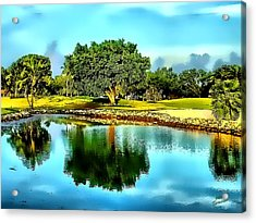 The Love Of Golf Acrylic Print by Kathy Tarochione