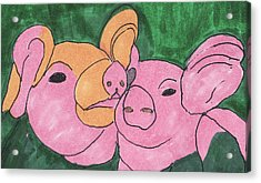 The Love Piglets Acrylic Print by Golden Dragon