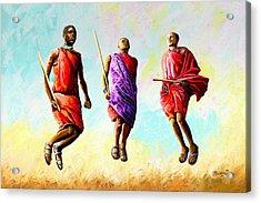 The Maasai Jump Acrylic Print
