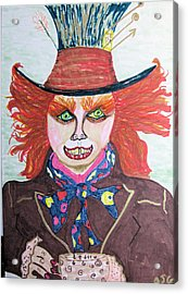 Acrylic Print featuring the drawing The Mad Hatter by Barbara Giordano