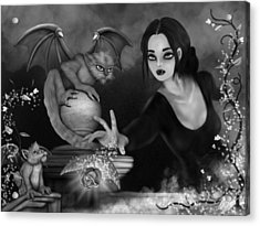 The Magic Rose - Black And White Fantasy Art Acrylic Print by Raphael Lopez