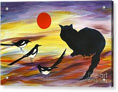 The Magpies Tell Meow Of Red Acrylic Print