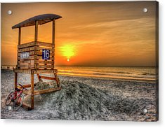 Acrylic Print featuring the photograph The Main Attraction Tybee Island Sunrise Lifeguard Stand Beach Art by Reid Callaway
