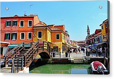 The Main Street On The Island Of Burano, Italy Acrylic Print