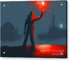 The Man With The Flare Acrylic Print by Pixel  Chimp