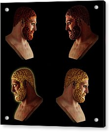 Acrylic Print featuring the mixed media The Many Faces Of Hercules 2 by Shawn Dall