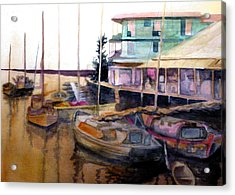 Acrylic Print featuring the painting The Marina by Jim Phillips