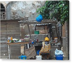 The Market Acrylic Print by Fania Simon