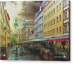 The Market In The Rain Acrylic Print