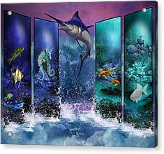 The Marlin And His Sea Friends  Acrylic Print by Ali Oppy