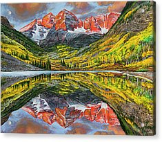 Acrylic Print featuring the painting The Maroon Bells  by Aaron Spong