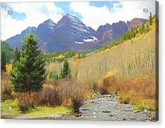 Acrylic Print featuring the photograph The Maroon Bells Reimagined 3 by Eric Glaser