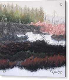 The Marsh Of Changing Color Acrylic Print by Harvey Rogosin