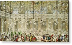 The Masked Ball At The Galerie Des Glaces Acrylic Print by Charles Nicolas Cochin II