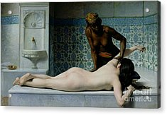 The Massage Acrylic Print by Edouard Debat-Ponsan