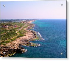 The Mediterranean From Rosh Hanikra Acrylic Print by Susan Heller