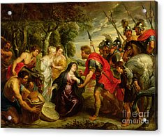 The Meeting Of David And Abigail Acrylic Print by Peter Paul Rubens