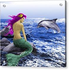 The Mermaid And The Dolphin Acrylic Print