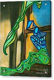 The Mermaid On The Window Sill Acrylic Print by Sarah Loft
