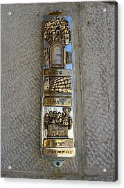 The Mezuzah At The Entry To The Kotel Plaza Acrylic Print by Susan Heller