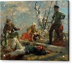 The Midday Rest Sailors Yarning Acrylic Print by Henry Scott Tuke