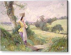 The Milkmaid Acrylic Print by Myles Birket Foster