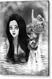 The Missing Key - Black And White Fantasy Art Acrylic Print by Raphael Lopez