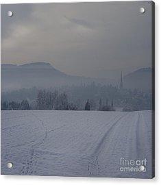 The Misty Wintery Afternoon Acrylic Print by Angel Ciesniarska