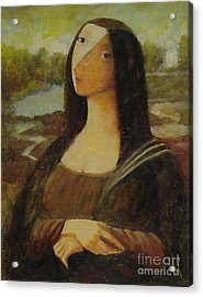 Acrylic Print featuring the painting The Mona Lisa Next Door by Glenn Quist