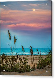 The Moon And The Sunset At South Padre Island 11 By 14 Crop Acrylic Print by Micah Goff