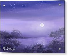 The Moon Will Set Acrylic Print by Leslie Rhoades