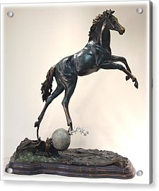 Acrylic Print featuring the sculpture The Moonhorse Bronze by Dawn Senior-Trask