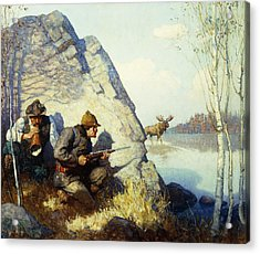 The Moose Call Acrylic Print by Newell Convers Wyeth