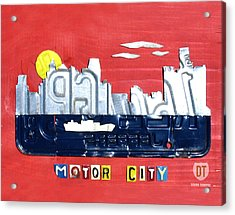 The Motor City - Detroit Michigan Skyline License Plate Art By Design Turnpike Acrylic Print