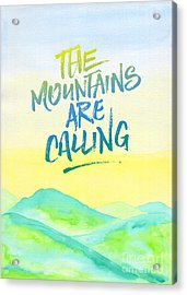 The Mountains Are Calling Yellow Blue Sky Watercolor Painting Acrylic Print